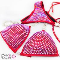 Red Swarovski Competition Bikini
