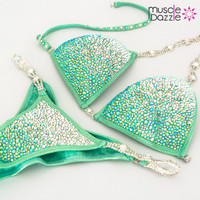 Swarovski Mint Green Competition Bikini