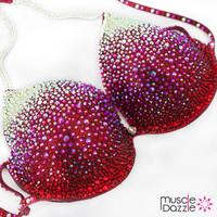 Swarovski Red Ombre Crystal Competition Bikini