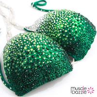 Green Ombre Swarovski Competition Bikini