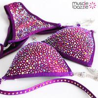 Dark Violet Swarovski Competition Bikini