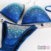 Royal Blue Swarovski Crystal Competition Bikini