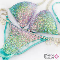 Light Pink and Green Swarovski Crystal Bikini