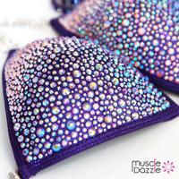 Dark Purple Swarovski Crystal Competition Bikini
