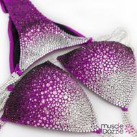 Magenta Ombre Swarovski Competition Bikini