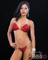 Red Swarovski Crystal Bikini Competition Suit