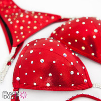 Bright Red Swarovski Competition Bikini