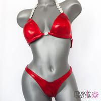 Red Plain Figure Posing Suit