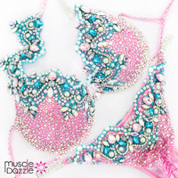 Pink blue bikini diva competition suit