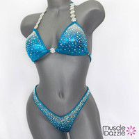 Aqua blue figure suit