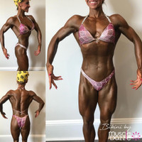 Pink figure competition suit