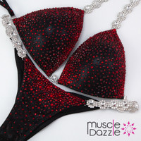 Black and red competition bikini