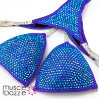 Blue and purple competition bikini