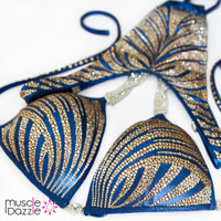 Gold and blue figure competition suit