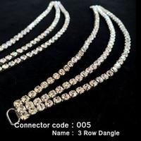 Set of 2 x Bikini Connectors -  3 Row Dangle Style (005)