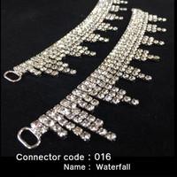 Set of 2 x Rhinestone Bikini Connectors - Waterfall style (016)