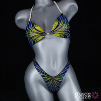 Blue and Yellow Figure Suit