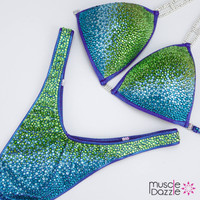 Blue Green Figure Competition Suit