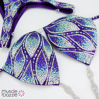 Blue and Purple Figure Competition Suit