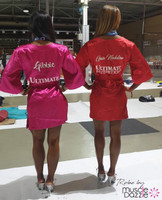 Pink & Red bikini competition back stage robe