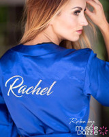 Royal personalized blue bikini competition back stage robe