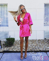 Pink personalized bikini competition back stage robe