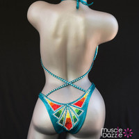 Teal figure competition suit