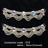 Set of 2 x Rhinestone Bikini Connectors - Wave Style with Colored Stones (012)