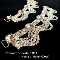 Set of 2 x Rhinestone Bikini Connectors - Wave Style with Clear Stones (011)