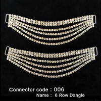 Set of 2 x Bikini Connectors -  6 Row Dangle Style (006)