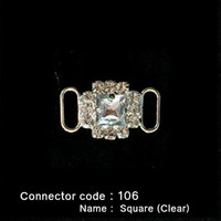 Middle Connector for Bikini Top - Square Style with Clear Stone (106)