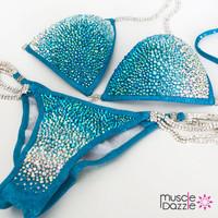 Aqua Blue Crystal Competition Bikini (CB008)