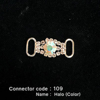 Middle Connector for Bikini Top - Halo Style with Colored Stone (109)