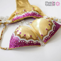 Gold crystal bikini competition suit