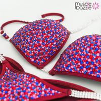 Burgundy Crystal Competition Bikini
