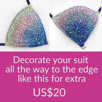 Competition bikini fully decorated with crystals to the edge.