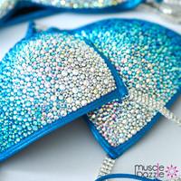 Aqua blue crystal competition bikini
