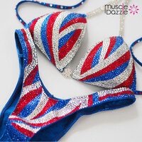 Blue White Red Figure Competition Suit