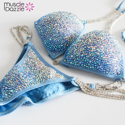 Light Blue Ombre Crystal Competition Bikini
