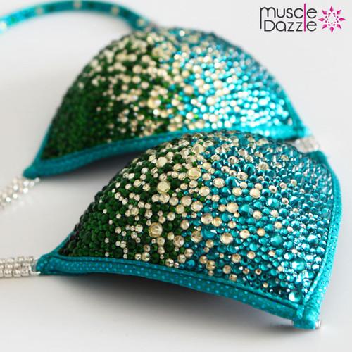 Teal Green Crystal Competition Bikini