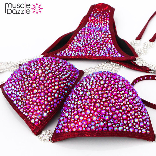 Dark Red Crystal Competition Bikini