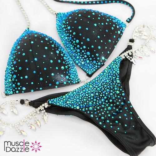 Blue on Black Crystal Competition Bikini