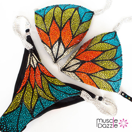 Multi-colored crystal competition bikini
