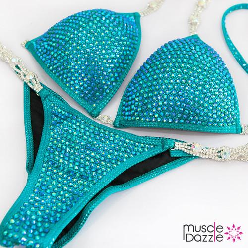 Turquoise Crystal Competition Bikini