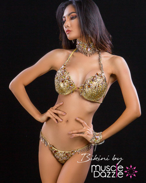 Gold couture competition suit