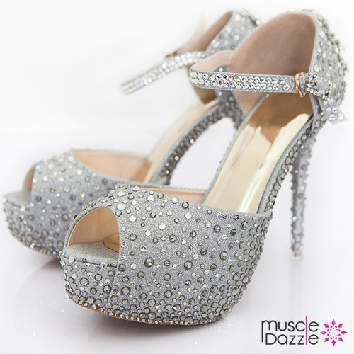 Silver glitter high heel platform pumps with crystals