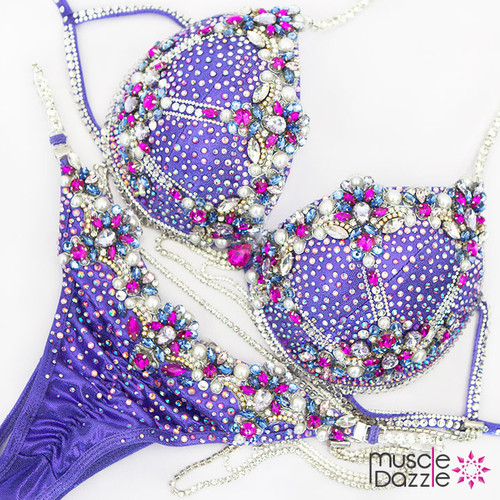 Purple WBFF Diva Fitness Competition Bikini