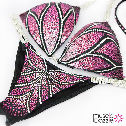 Pink and purple crystal bikini competition suit