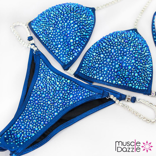Sapphire blue crystal bikini competition suit