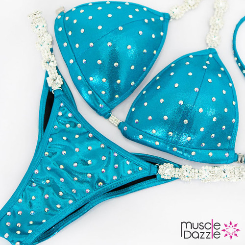 Affordable light blue competition bikini